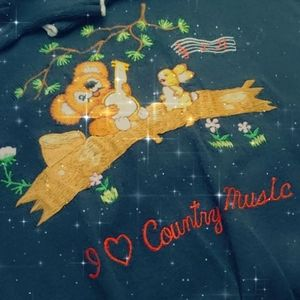 🐰🐨 Vintage Embroider I ❤ Country Music🎶 Sweater